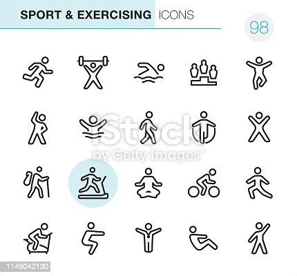 20 Outline Style - Black line - Pixel Perfect icons / Sport & Exercising Set #98 Icons are designed in 48x48pх square, outline stroke 2px.  First row of outline icons contains:  Running, Weightlifting, Swimming, Winners Podium, Jumping;  Second row contains:  Exercising, Diving, Walking, Skipping, Gym;  Third row contains:  Hiking, Treadmill, Yoga, Cycling, Stretching;   Fourth row contains:  Exercise Bike, Squats, Winner, Sit-ups, Aerobics.  Complete Primico collection - https://www.istockphoto.com/collaboration/boards/NQPVdXl6m0W6Zy5mWYkSyw