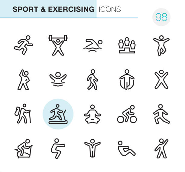 Sport and Exercising - Pixel Perfect icons 20 Outline Style - Black line - Pixel Perfect icons / Sport & Exercising Set #98 Icons are designed in 48x48pх square, outline stroke 2px.  First row of outline icons contains:  Running, Weightlifting, Swimming, Winners Podium, Jumping;  Second row contains:  Exercising, Diving, Walking, Skipping, Gym;  Third row contains:  Hiking, Treadmill, Yoga, Cycling, Stretching;   Fourth row contains:  Exercise Bike, Squats, Winner, Sit-ups, Aerobics.  Complete Primico collection - https://www.istockphoto.com/collaboration/boards/NQPVdXl6m0W6Zy5mWYkSyw meditation stock illustrations