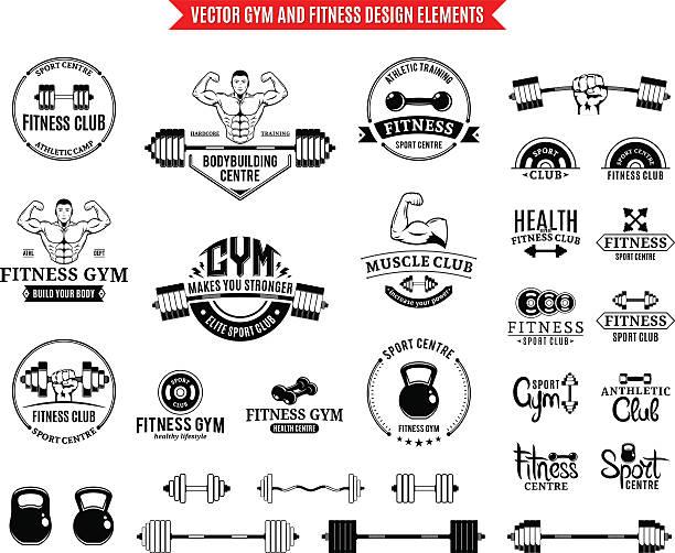 Deportes y gimnasio plantillas y elementos de diseño de la etiqueta - ilustración de arte vectorial