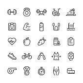 Vector sport and fitness icons set.