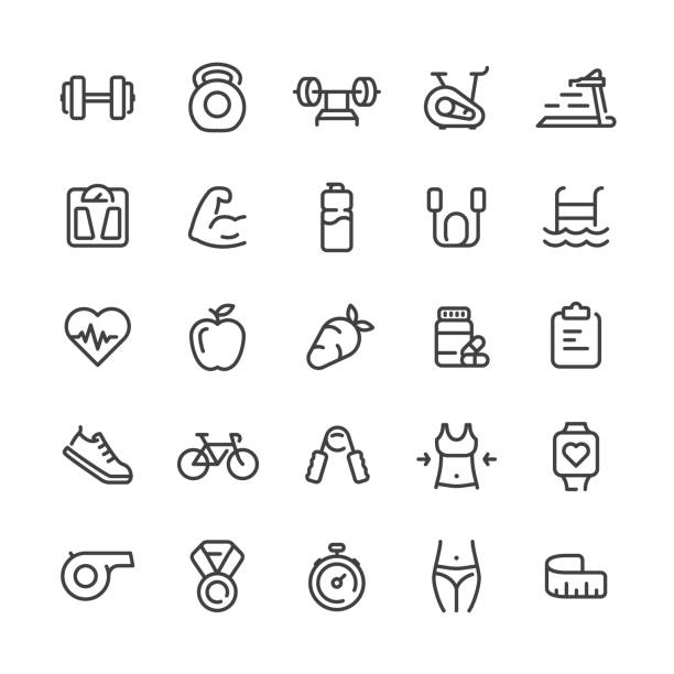 Sport and Fitness Icons Set Vector sport and fitness icons set. weight loss stock illustrations