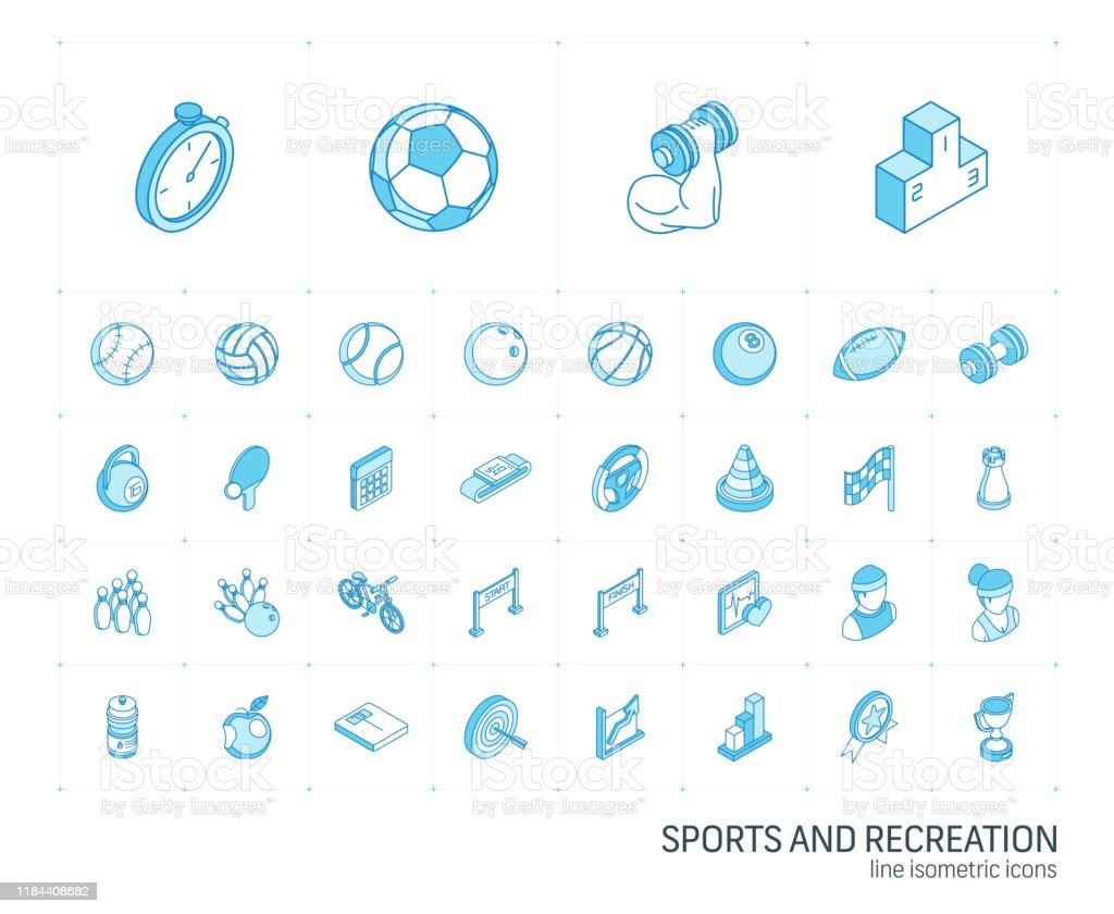 Sport- und Fitness-isometrische Liniensymbole. 3D-Vektor - Lizenzfrei Amerikanischer Football Vektorgrafik