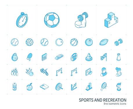 Sport Und Fitnessisometrische Liniensymbole 3dvektor Stock Vektor Art und mehr Bilder von Amerikanischer Football