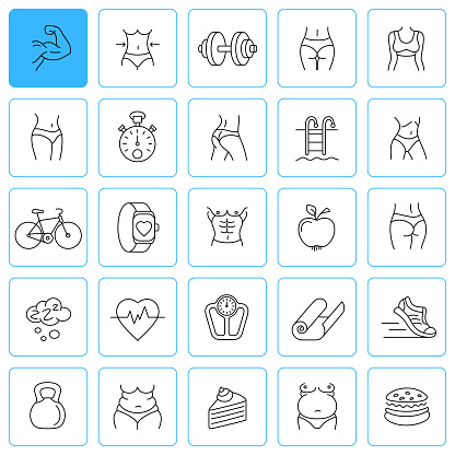 Sport and Fitness Liner Icon Set. Editable Stroke.