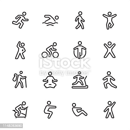 16 line black on white icons / Sport and Fitness Set #100 Pixel Perfect Principle - all the icons are designed in 48x48pх square, outline stroke 2px.  First row of outline icons contains:  Running, Swimming, Walking, Jumping;  Second row contains:  Exercising, Cycling, Skipping, Gym;  Third row contains:  Hiking, Yoga, Treadmill, Stretching;   Fourth row contains:  Exercise Bike, Squats, Sit-ups, Aerobics.  Complete Inlinico collection - https://www.istockphoto.com/collaboration/boards/2MS6Qck-_UuiVTh288h3fQ