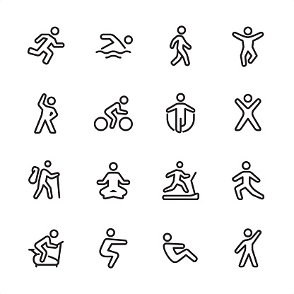 Sport and Fitness - outline icon set