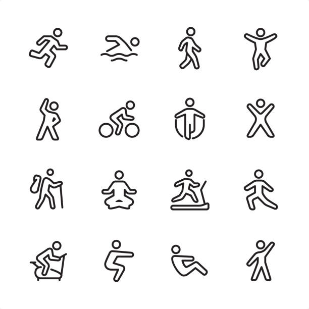 Sport and Fitness - outline icon set 16 line black on white icons / Sport and Fitness Set #100 Pixel Perfect Principle - all the icons are designed in 48x48pх square, outline stroke 2px.  First row of outline icons contains:  Running, Swimming, Walking, Jumping;  Second row contains:  Exercising, Cycling, Skipping, Gym;  Third row contains:  Hiking, Yoga, Treadmill, Stretching;   Fourth row contains:  Exercise Bike, Squats, Sit-ups, Aerobics.  Complete Inlinico collection - https://www.istockphoto.com/collaboration/boards/2MS6Qck-_UuiVTh288h3fQ jumping stock illustrations