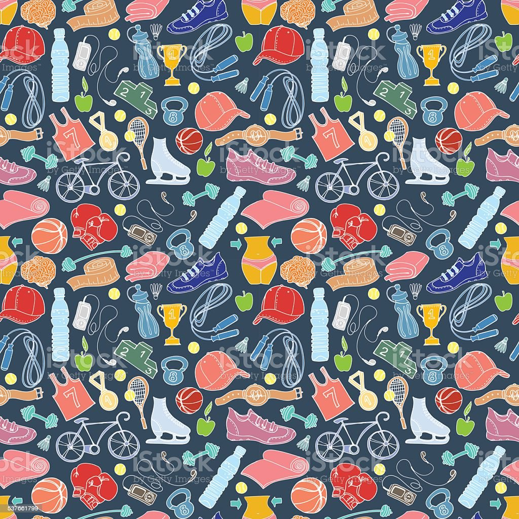 Sport and fitness seamless doodle pattern vector art illustration