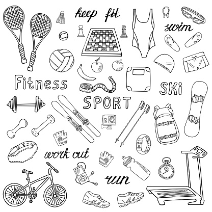 Sport and fitness vector hand-drawn icons