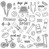Set of sport and fitness hand-drawn icons isolated on white background. Doodle accessories and equipment for running, skiing, swimming, weightlifting etc.. Black and white sketched vector illustration