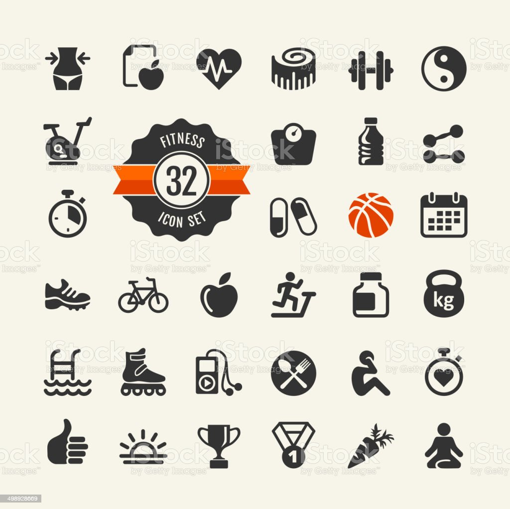 Sport and fitness web icons collection vector art illustration