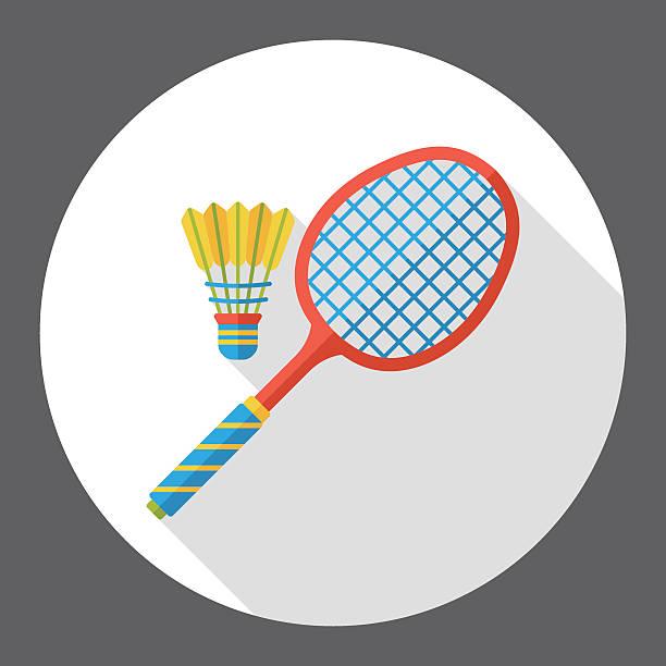 sport badminton flache symbol - badminton stock-grafiken, -clipart, -cartoons und -symbole
