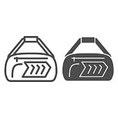 istock Sport bag line and solid icon, Gym concept, fitness bag sign on white background, Duffle handbag icon in outline style for mobile concept and web design. Vector graphics. 1280440089