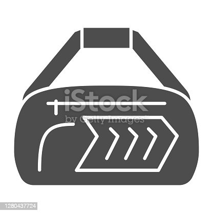 istock Sport bag solid icon, Gym concept, fitness bag sign on white background, Duffle handbag icon in glyph style for mobile concept and web design. Vector graphics. 1280437724
