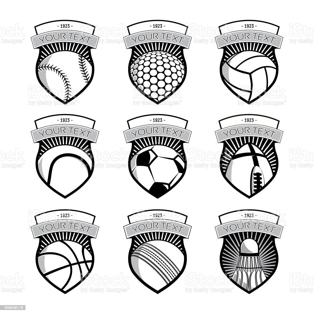 Sport ball emblems vector art illustration