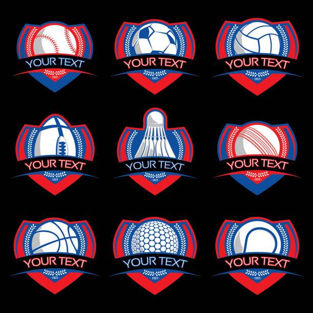 Sport ball emblems vector art illustration