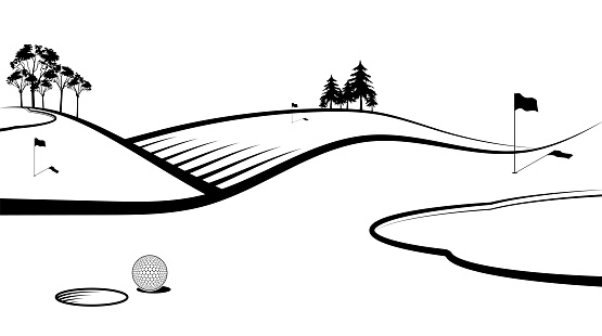 Sport ball for golf in front of hole with flags on sports field. Banner, background for design of competitions. Healthy lifestyle.  Vector