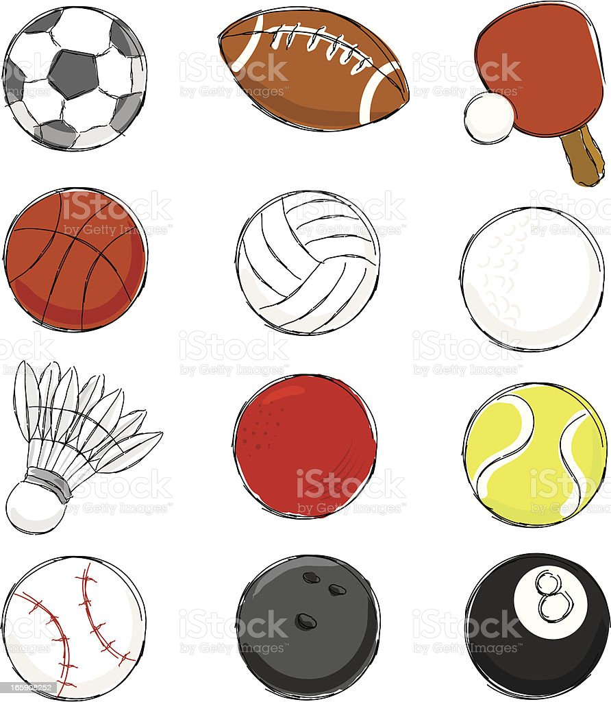 Sport Ball Icon Set royalty-free sport ball icon set stock vector art & more images of activity