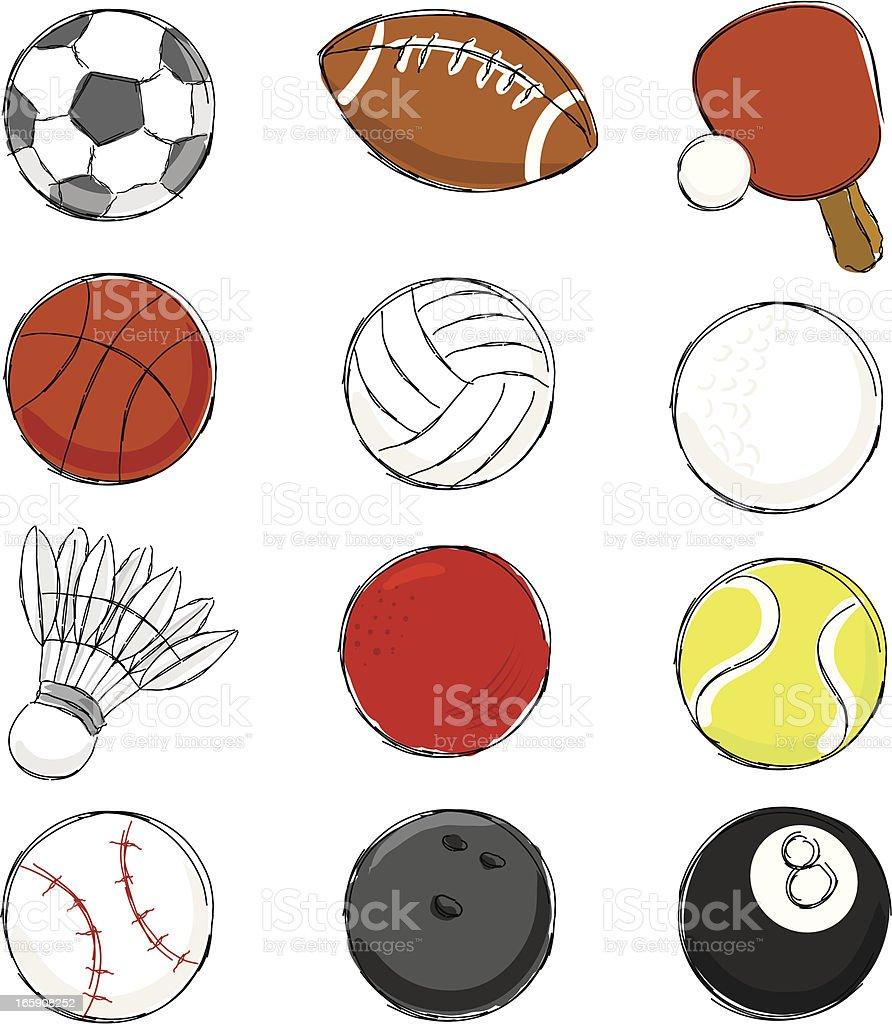 Sport Ball Icon Set vector art illustration