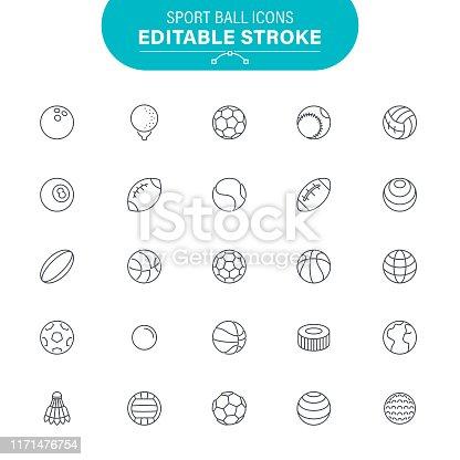 Soccer Ball, American Football - Ball, American Football, Baseball, Editable Outline Icon Set