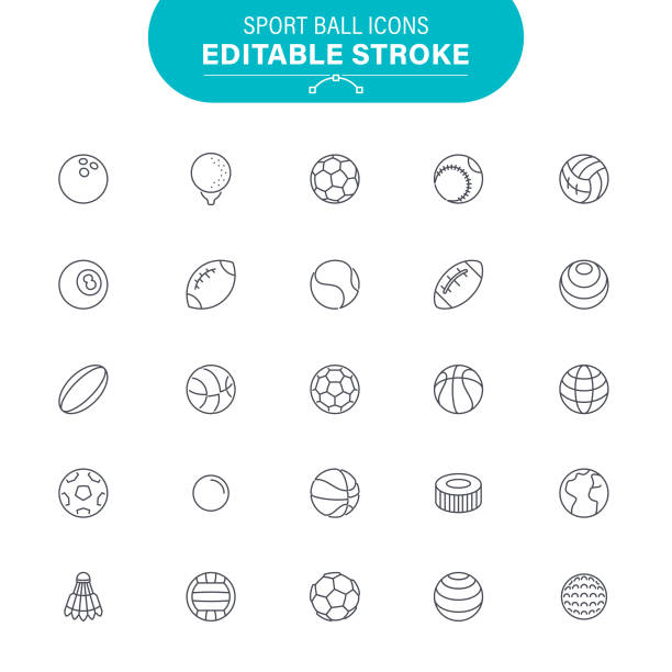 Sport Ball Icons Soccer Ball, American Football - Ball, American Football, Baseball, Editable Outline Icon Set sports icons stock illustrations