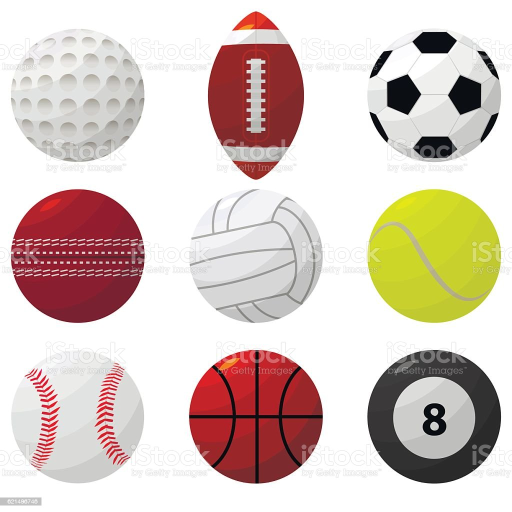 Sport Ball Set for Different Games. Vector sport ball set for different games vector - immagini vettoriali stock e altre immagini di attività royalty-free