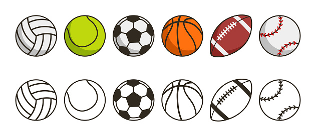 Sport ball set. Game balls icons. Volleyball, tennis, soccer, basketball, american football or rugby and baseball sport equipments. Vector