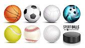 Sport Balls Vector. Set Of Soccer, Basketball, Bowling, Tennis, Golf, Volleyball, Baseball Balls Hockey Puck Isolated Illustration