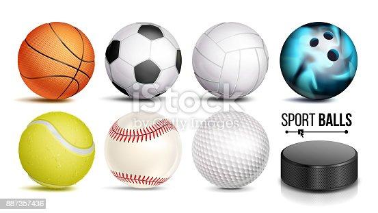 Esporte bola defina vetor. 3D realista. Bolas de esportes populares isoladas na ilustração de fundo branco