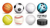 Sport Balls Vector. Set Of Soccer, Basketball, Bowling, Tennis, Golf, Volleyball, Baseball Balls Hockey Puck Isolated Illustration