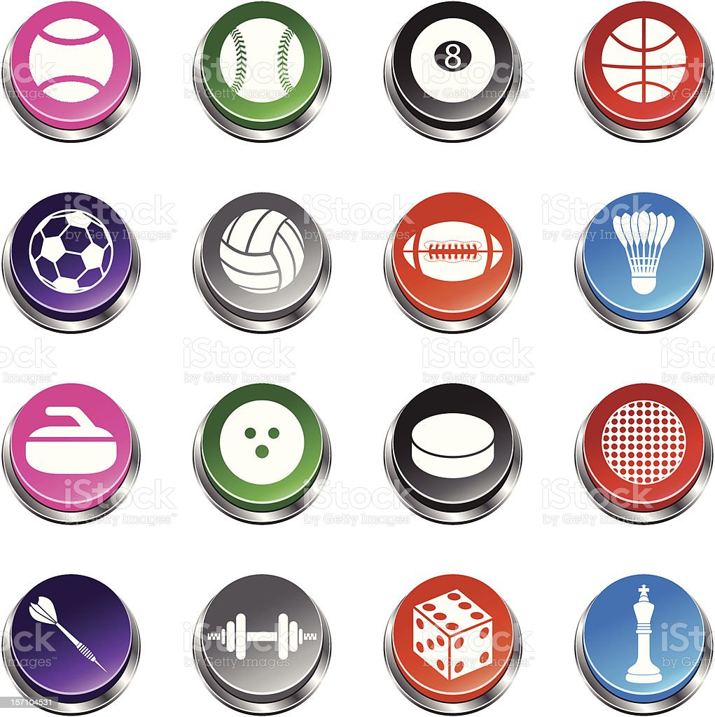 Sport Balls and elements - 3D Push Button Series vector art illustration