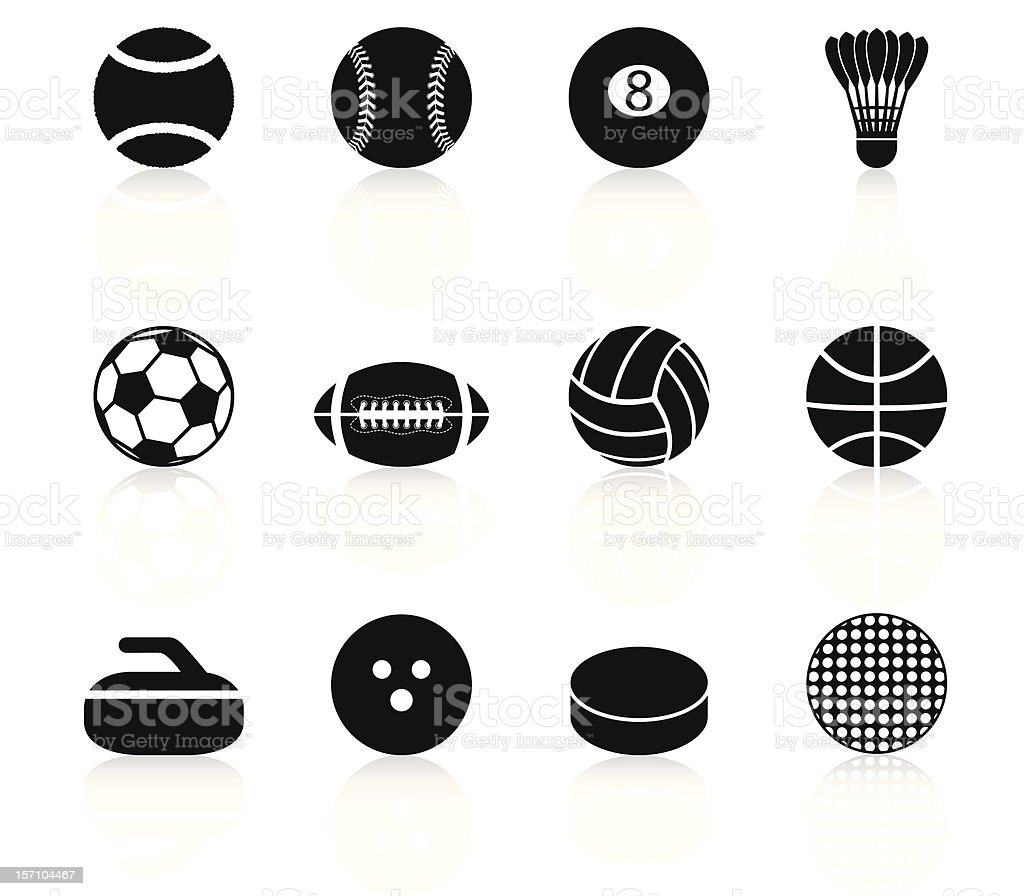 Sport Balls and elements - Black Series royalty-free sport balls and elements black series stock vector art & more images of american football - ball