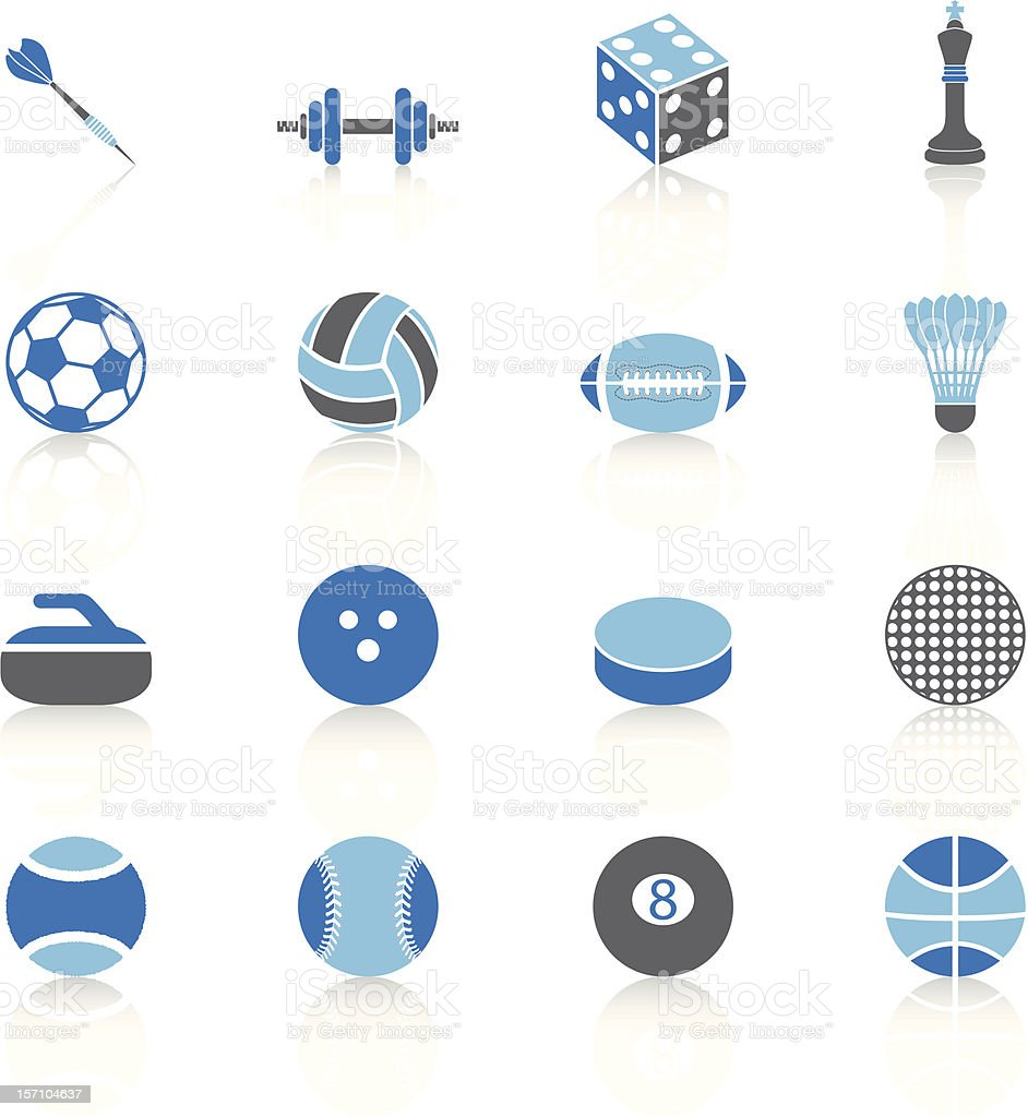 Sport Balls and elements - Blue Series vector art illustration