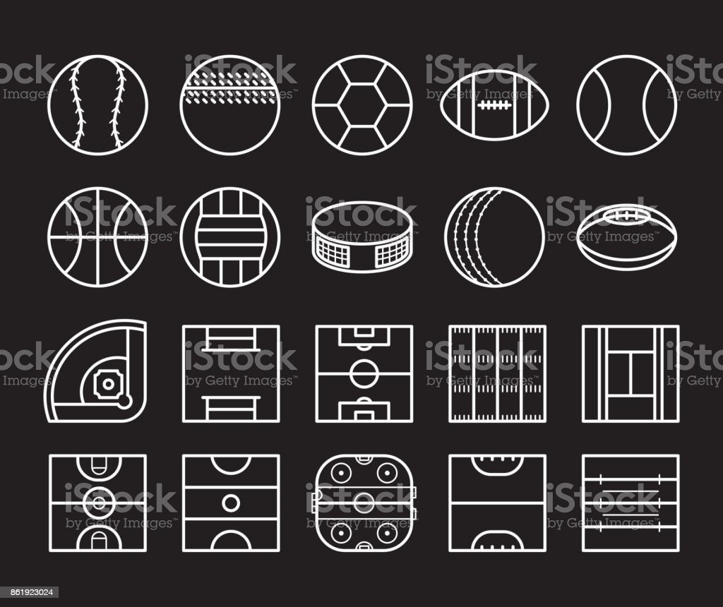 Sport Balls and Playing Field Icon set
