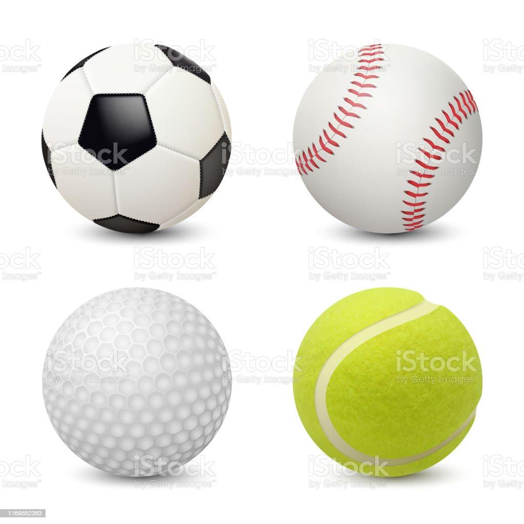 Sport balls. Baseball football tennis golf vector realistic sport...