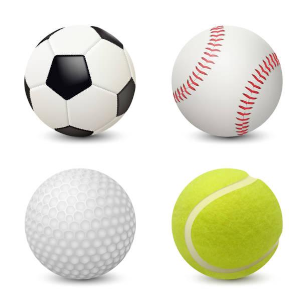 ilustrações de stock, clip art, desenhos animados e ícones de sport balls. baseball football tennis golf vector realistic sport equipment - golf