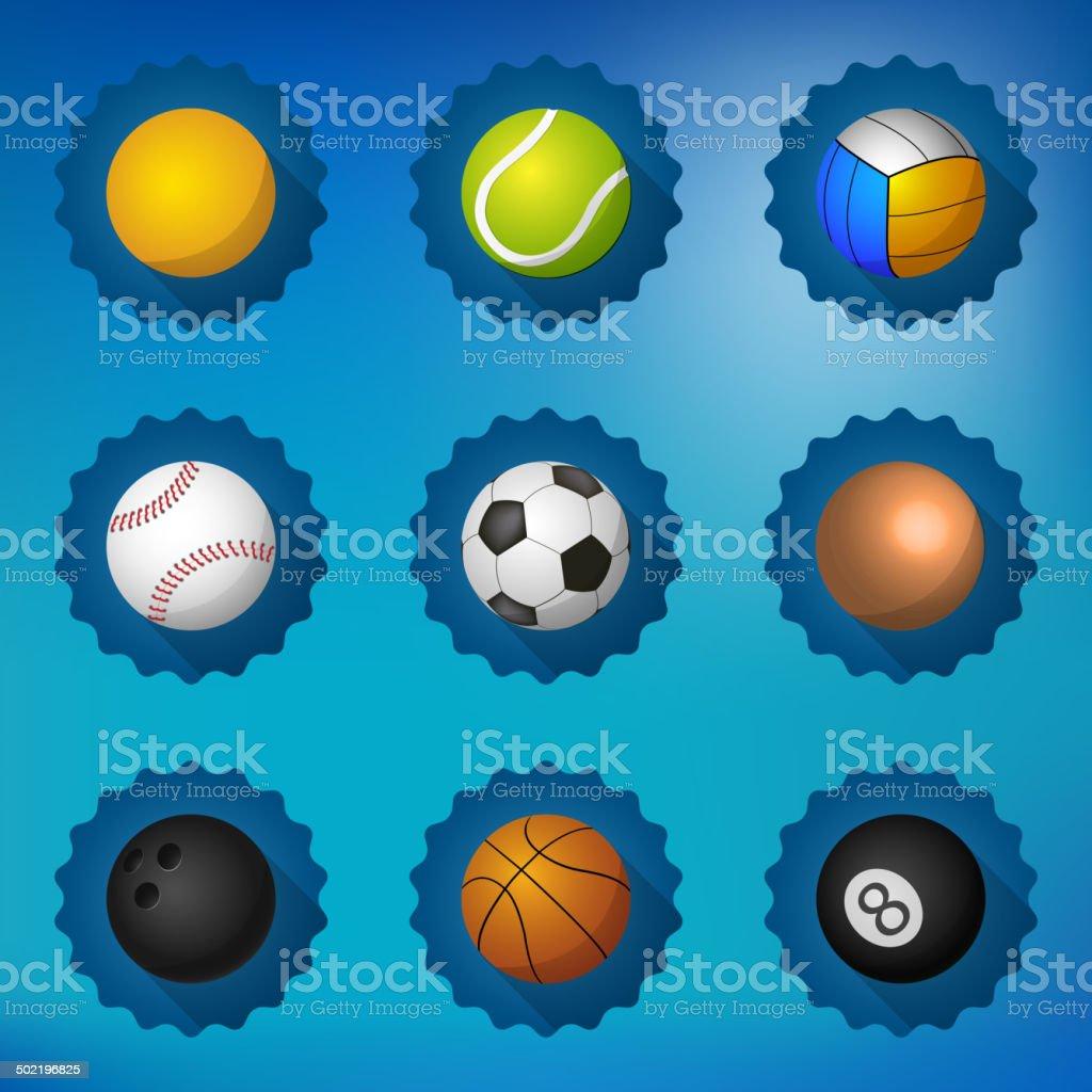 8553034a248 Pelotas de deportes de fútbol fútbol Voleyball icono vector plano conjunto,  etc. ilustración de