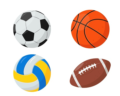 Sport Balls for basketball, volleyball, rugby and soccer.