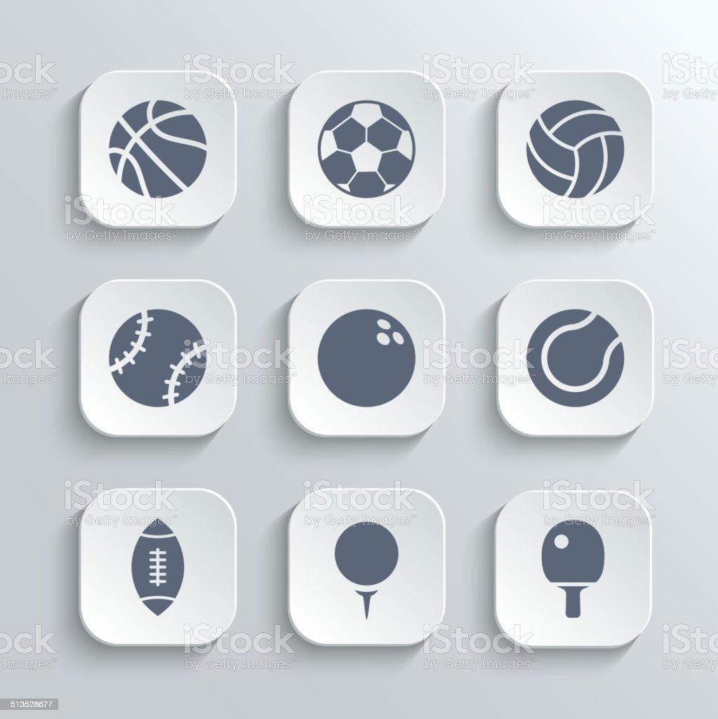 Sport balls icon set - vector white app buttons vector art illustration