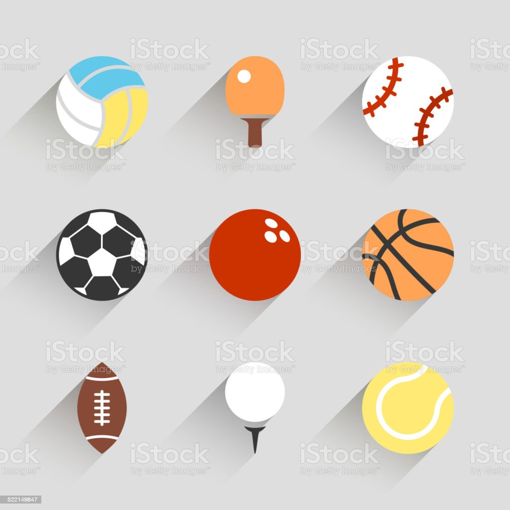 Sport Balls Icon Set Vector White App Buttons Stock