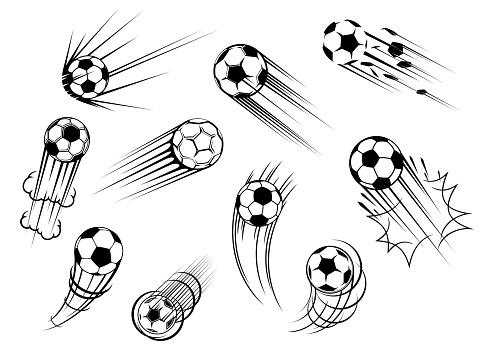 Sport balls icons, soccer game football goal