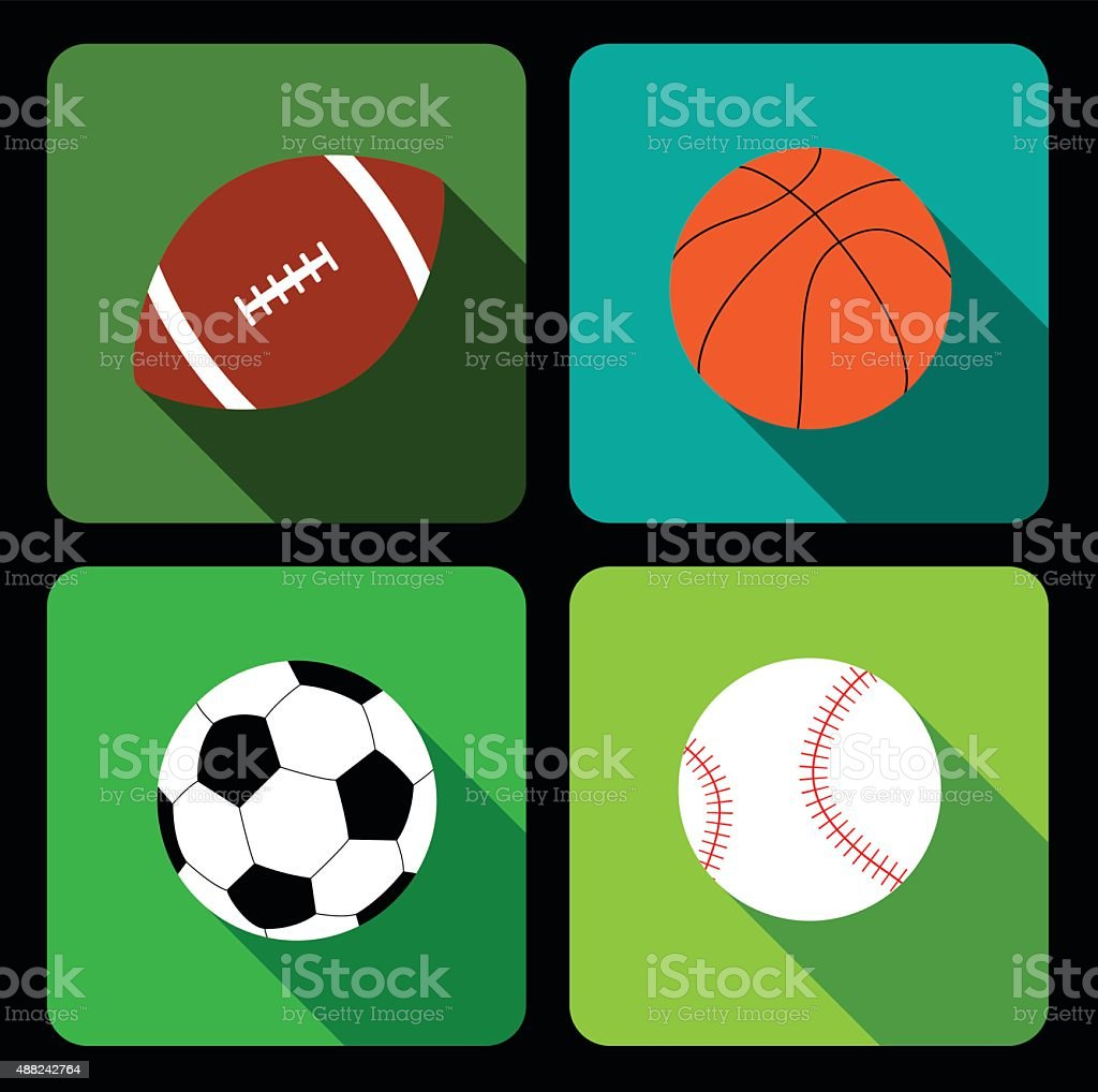 Sport balls icons vector art illustration