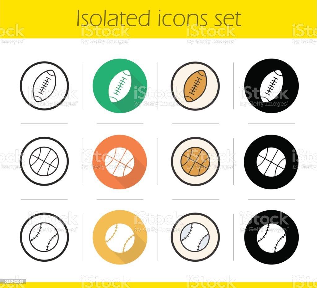 Sport balls icons vector art illustration