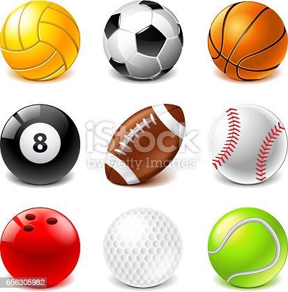 Esporte bolas ícones vector set