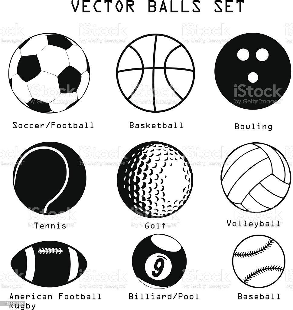 Sport balls illustration set vector art illustration
