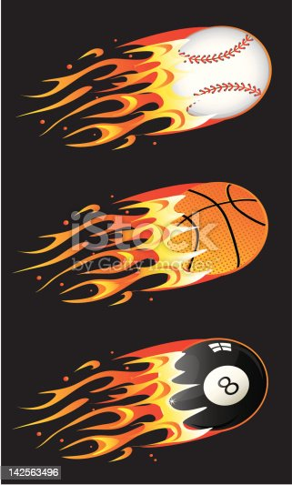 istock Sport balls in fire 142563496