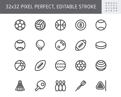 Sport balls line icons. Vector illustration with minimal icon - soccer, rugby, basketball, table tennis racquet, ice hockey puck, bowling, softball equipment. 32x32 Pixel Perfect. Editable Stroke