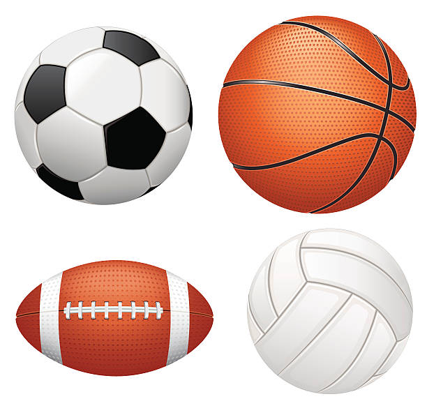bildbanksillustrationer, clip art samt tecknat material och ikoner med sport balls on white background - handboll