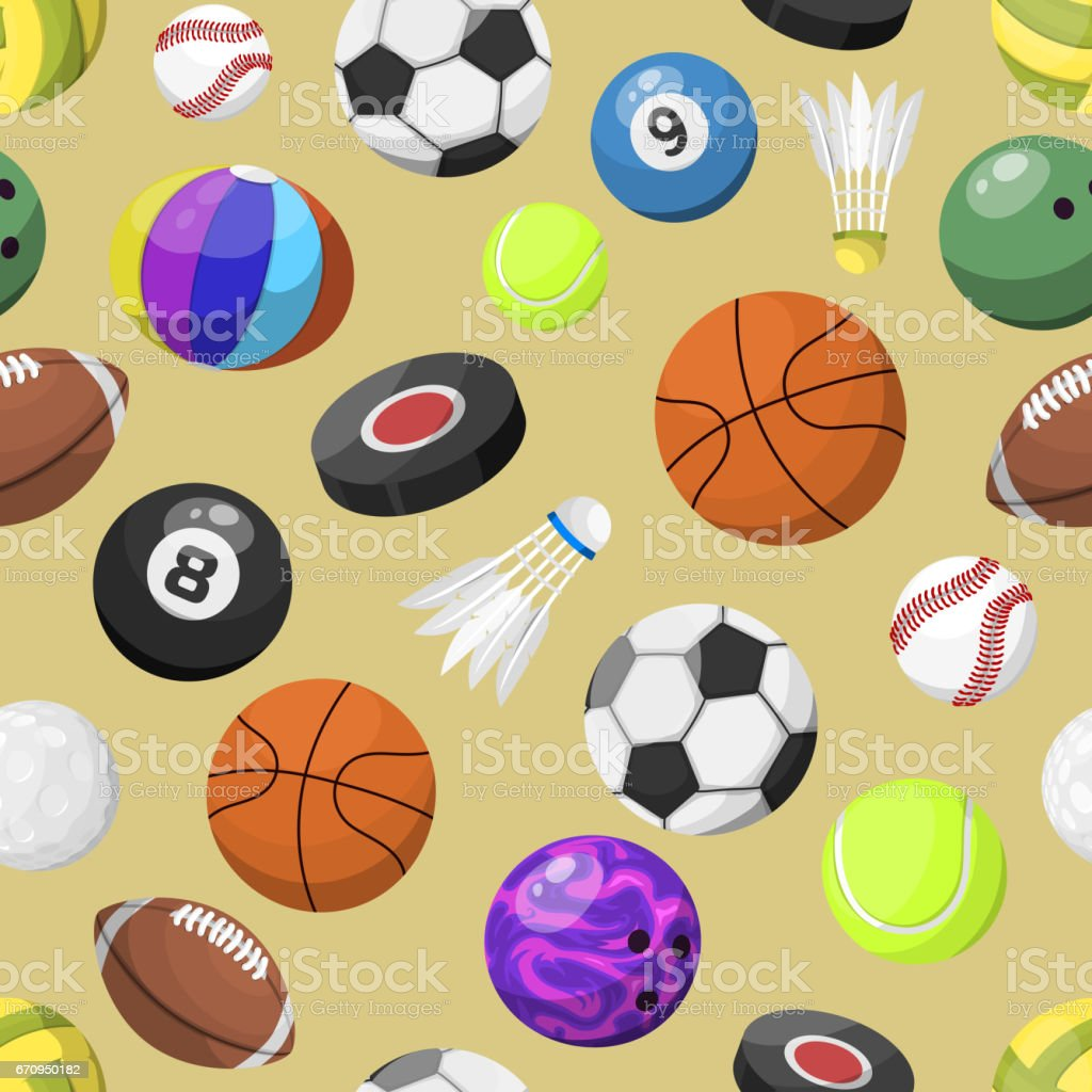 Sport Balls Seamless Pattern Vector Background Royalty Free Stock