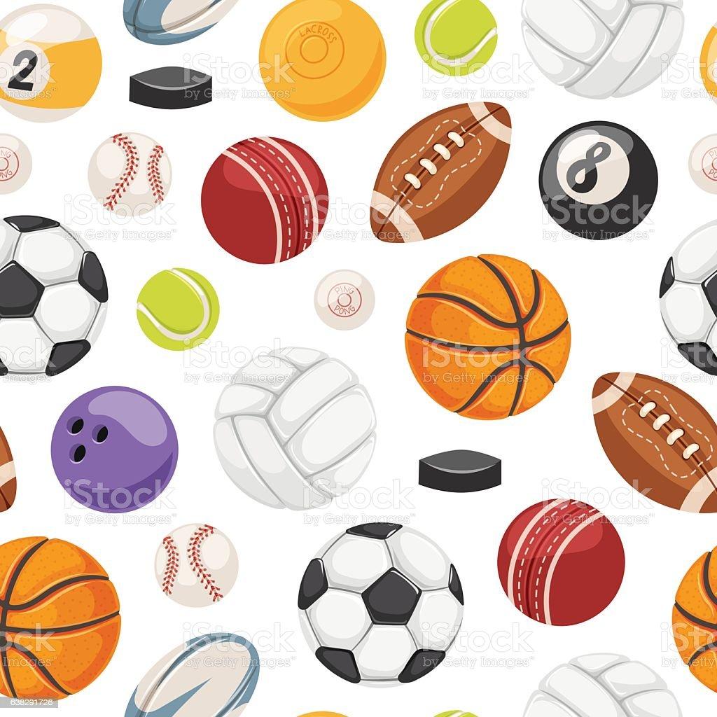 Sport balls seamless pattern vector. vector art illustration